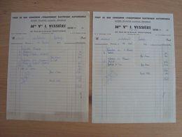 LOT DE 2 FACTURES Mme Vve J. VESSIERE EQUIPEMENT AUTOMOBILE MONTARGIS 1954 - Automobilismo