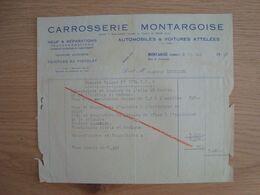 FACTURE CARROSSERIE MONTARGOISE AUTOMOBILES MONTARGIS 1950 - Automobilismo