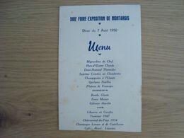 MENU 17e ANNIVERSAIRE DE LA FOIRE-EXPOSITION DE MONTARGIS 1950 - Menu