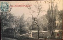 Cpa De 1905, TOUT PARIS - Buttes Chaumont, ( XIXe Arrondissement)Pont Suspendue Menant Au Belvédère,éd Trèfle Cccc - Parchi, Giardini