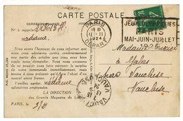 SEINE CP 1924 PARIS DEPART OMEC JEUX OLYMPIQUES PARIS MAI-JUIN-JUILLET 1924 - 1921-1960: Periodo Moderno