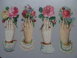 4 Grands Découpis Mains De Femmes Tenant Une Fleur - Other