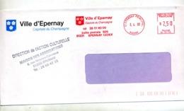 Lettre Dlamme Ema Eoernay Capitale Champagne Entete Mairie - Poststempel (Briefe)