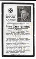 Faire-part Décès Soldat Allemand Franz Xaver Bernhard Le 30.9.1944 En Roumanie... - Décès
