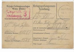 WW1-  1917- Carte De Prisonnier Français Au Camp De WAHN GEPRUFT LIMBURG-  Vers CAUDEBEC LES ELBEUF Voir 2 Scans - Poststempel (Briefe)
