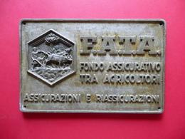 Grande Targa Metallica F.A.T.A. Fondo Assicurativo Tra Agricoltori Assicurazioni - Other Collections