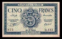 # # # Banknote Algerien (Algeria) 5 Francs 1942 AU- # # # - Algerien