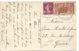 JAURES 40C + SEMEUSE 20C LILAS CARTE (grosse Fente) THORENS HAUTE SAVOIE POUR GENEVE TARIF FRONTALIER 1936 AFFR RARE - Marcophilie (Lettres)