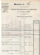 Exercice 1829 - HOSPICE DE FREJUS - Budget Des Recettes Et Dépenses - Population Habituelle - Documents Historiques
