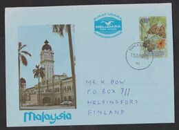 Malaysia: Stationery Aerogramme To Finland, 1976, Butterfly, Insect, Heritage, Architecture, Music (traces Of Use) - Malaysia (1964-...)