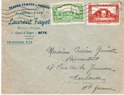 34- SETE- OLIVES -ALGERIE- LAURENT FAYET - QUAI D'ALGER OBLITERATION ORAN 5 DECEMBRE 1941 - Other