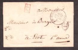 LSC - 10 Février 1843 - T13 Chaumont Pour Ecot (Hte Marne) - Port Payé 2 Déc. + 1 Déc. Rural - Verso T13 Andelot - Poststempel (Briefe)