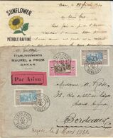 "Enveloppe / Avion + Correspondance ""Pétrole Sunflower""  3F50 O. Dakar Avion Sénégal 1930 - Senegal (1887-1944)"