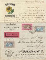 "Enveloppe / Avion + Correspondance ""Pétrole Sunflower""  3F50 O. Dakar Sénégal 1929 - Brieven En Documenten"