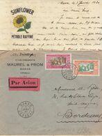 "Enveloppe / Avion + Correspondance ""Pétrole Sunflower""   3F50 O. Dakar Sénégal 1930 - Brieven En Documenten"