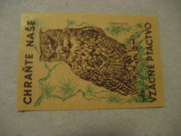 Chrante Nase Poster Stamp Vignette CZECHOSLOVAKIA Label Owl Owls Bird Birds - Búhos, Lechuza