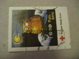 2002 God Jul Rode Kors Red Cross Poster Stamp Vignette NORWAY Label Owl Owls Bird Birds - Búhos, Lechuza