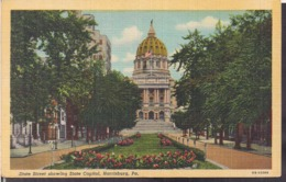 C. Postale - State Street Showing State Capitol - Circa 1920 - Non Circulee - A1RR2 - Harrisburg