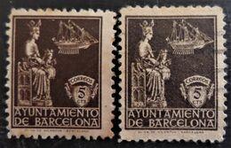Timbres De La Virgen De La Merced N° 23 Différentes Nuances Et Différentes Dentelure - Barcelona
