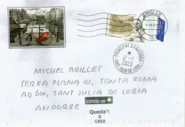 Mercator Atlas Stamp,letter NETHERLANDS During Coronavirus COVID19, Addressed To Andorra, With Local Sticker STAY HOME - Geografía