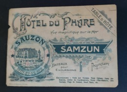Carte De Visite (Rare Version Colorisé) BELLE ILE EN MER, HOTEL DU PHARE, Carte Géographique SAMZUN Propriétaire, Houat - Belle Ile En Mer