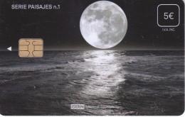 ISN-125 TARJETA DE ESPAÑA DE ISERN  DE LA SERIE PAISAJES Nº1 (LUNA-MOON) - Astronomia