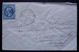 Chilleurs-aux-Bois Loiret 1867, GC 1015 Et Cachet Tireté Pour La Comtesse De Brossard Château Bardel  Le Pont D' Ouilly - 1849-1876: Période Classique