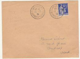 """ESC  90c Paix Surchargé """"F"""" O. Camp De Gurs Basses Pyrénées 11/11/1939 Réfugié Espagnol Ou Brigadiste. - Guerre De 1939-45"""