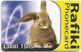 Tanzania - TTCL (Chip) - Rafiki, Rabbit (Blue) - 1.000Tshs, Gem5 Red, 2003, Used - Tanzania