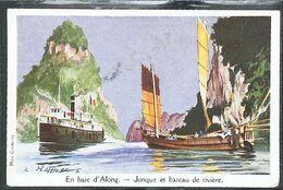 """Cpa INDOCHINE - Baie D'Along  Bateau """"Cannonière Française"""" D'après Haffner - Ligue Maritime Et Coloniale - Vietnam"""