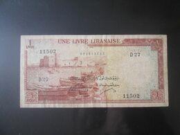 Rare! Lebanon/Liban 1 Livre 1961 Banknote - Liban