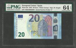 20 EURO - VH V005 I2 - VH0108885604 - ESPAÑA - SPAIN - DRAGHI - UNC - PMG 64 EPQ - 20 Euro