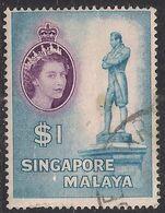 Singapore Malaya 1955 - 59 QE2 $1 Raffles Statue Used SG 50 ( L1075 ) - Singapore (...-1959)