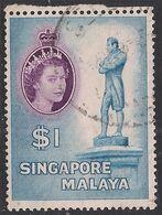 Singapore Malaya 1955 - 59 QE2 $1 Raffles Statue Used SG 50 ( L1218 ) - Singapore (...-1959)