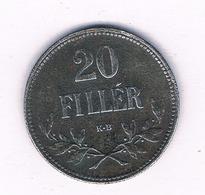 20 FILLER 1917  HONGARIJE /5694/ - Hungría