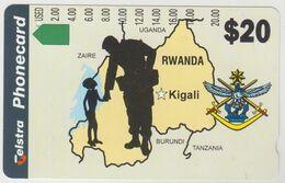 RWANDA (Telstra) - Map Of Rwanda, 20 $, Tirage 6000, 02/95, Used - Rwanda