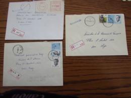 3 Lettres Recommandées Avec CODES POSTAUX GRATTES (en Octobre 1990) Oblitérés HUY 1, HUY 2, Et STATTE(HUY) - Postmark Collection