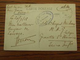 Carte Vue (recto Avec Adhérences) Oblitérée Lourdes En 1918. Cachet FOYER DU SOLDAT BELGE - LE VAGUEMESTRE LOURDES - Guerra '14-'18