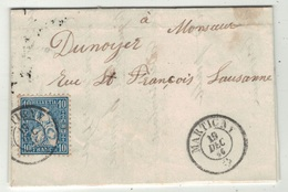 Suisse // Schweiz // Switzerland // Helvétie Assise // Lettre Au Départ De Martigny Pour Lausanne (timbre No.31) - 1862-1881 Zittende Helvetia (getande)
