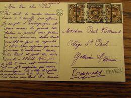 N° 341 (3X) Sur Carte Vue En EXPRES De MEENEN (1934) Pour Godinne - Postmark Collection
