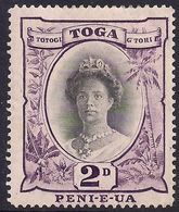 Toga -Tonga 1920 - 35 KGV 2d Queen Salotte MM Die 2 SG 57e ( L621 ) - Tonga (...-1970)
