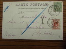 Carte Vue De Chamonix Oblitérée Idem Pour Le RELAIS De WOMMELGHEM Appliqué Sur Le Timbre TAXE N° 4 En 1911 - Altri