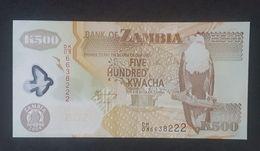 RS - Zambia 500 Kwacha Banknote 2008 UNC #DK/03 6638222 - Zambia