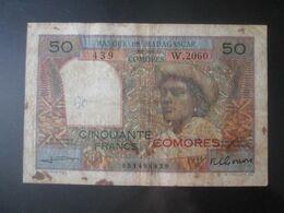 Rare! Comores/Comoros-Banque De Madagascar/Bank Of Madagascar 50 Francs 1963 Banknote Red Overprint - Comoros