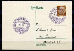 """German Empires 1939  Stempelkarte Mit Mi.Nr.513 U.SST.""""Graz-VII.Reichstagung Der Auslandsdeutschen """"1 Beleg - Deutschland"""