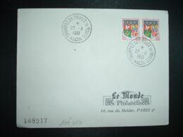 LETTRE TP ORAN 0,05 Paire OBL.27-8 1961 MACON CHAMPAT DE FRANCE DE BOULES - Bowls