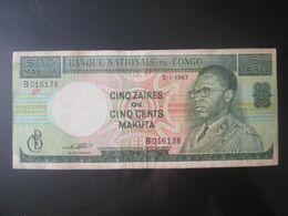Rare! Congo 5 Zaires=500 Makuta 1967 Banknote - Congo