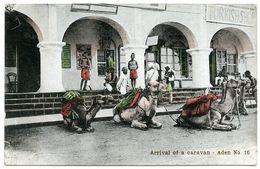 ADEN : ARRIVAL OF A CARAVAN / ADDRESSES - S. S. PLASSY / PLASSEY & BISHOP'S STORTFORD, HADHAM ROAD - Jemen