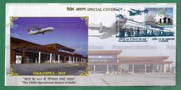 INDIA 2019 Inde Indien - 100th OPERATIONAL AIRPORT, SIKKIM Special Cover MNH ** - Airplanes, Air Plane - As Scan - Airplanes