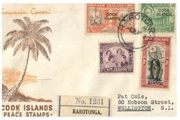 (F 3) FDC Cover - New Zealand (overprinted Cook Islands) 1946 (not Perfect) - FDC